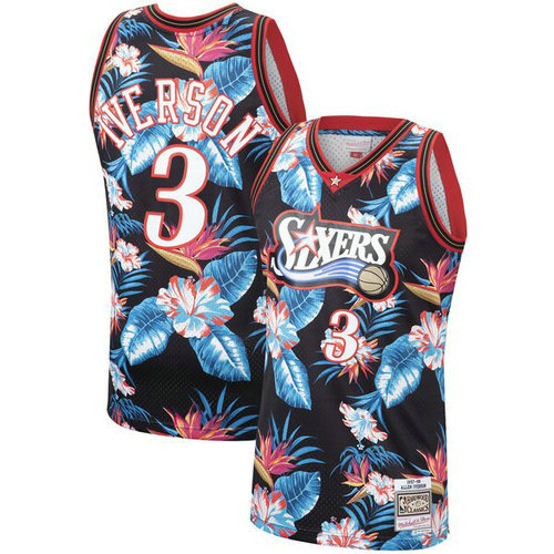 Camiseta cfb3 C662 Allen Iverson, Philadelphia 76ers - Mitchell & Ness Floral Pack