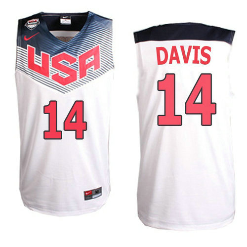 Camiseta cfb3 C774 Anthony Davis, USA 2014 - Blanca