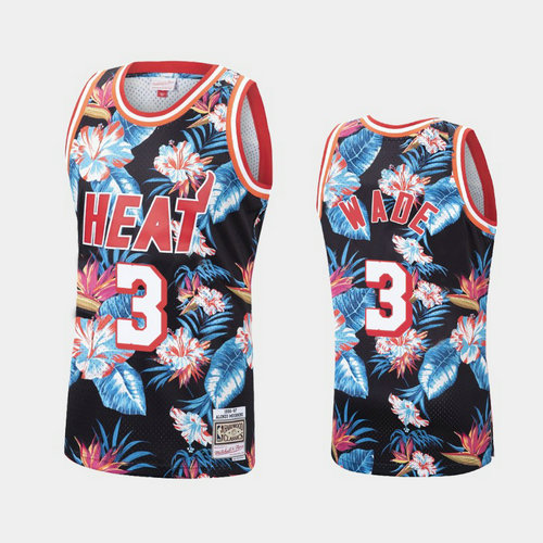 Camiseta cfb3 C515 Dwyane Wade, Miami Heat - Mitchell & Ness Floral Pack