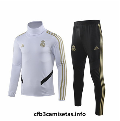 Camiseta Cfb3 E092 Chandal Real Madrid Blanco/Negro 2019/20 Cuello alto
