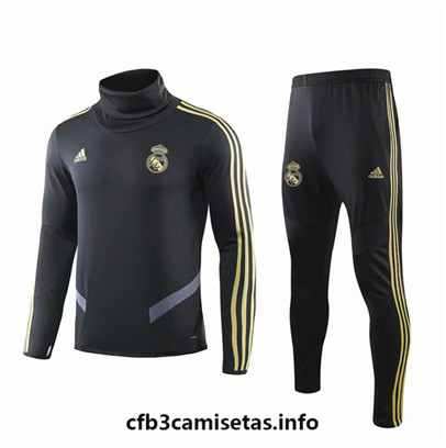 Camiseta Cfb3 E093 Chandal Real Madrid Negro 2019/20 Cuello alto